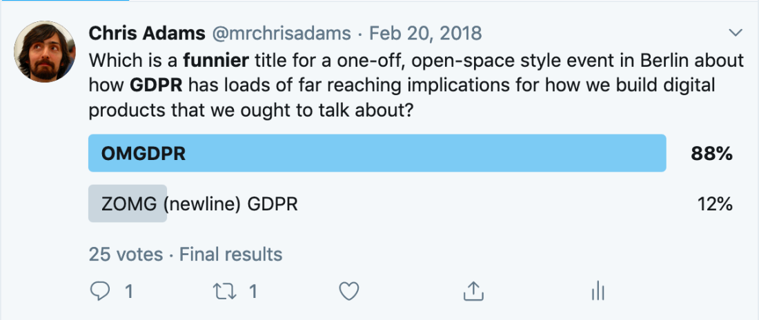 A poll asking for variants of the OMGPDR name. OMGPDR win with 88% of the vote versus ZOMG (newline) GDPR